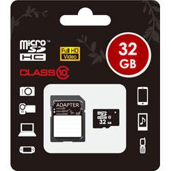 32GB・Class10対応 microSDHCカード(SDHC変換アダプタ付) MICROSD-CLASS10-32GB