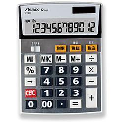 ビジネス電卓 税率設定対応 Mサイズ C1228 シルバー [12桁]