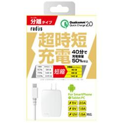 [micro USB]AC−USB充電器 2.0A +micro USBケーブル 1m (ホワイト)RK-ADA31W [1.0m]