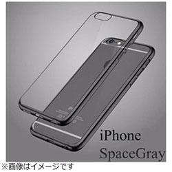 iPhone X用 メッキ加工クリアソフトケース ブラック AM379BK