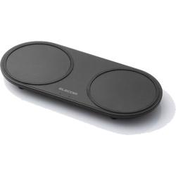 ELECOM(エレコム) ワイヤレス充電器 Qi対応 5W+5W 2台同時充電 卓上タイプ W-QA05BK ブラック [USB給電対応 /ワイヤレスのみ]