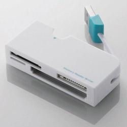 メモリリーダライタ/ケーブル収納/SD+MS+CF対応/ホワイト MR-K013XWH