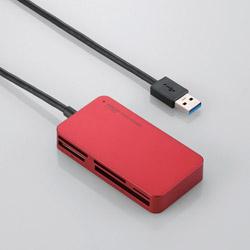 メモリリーダライタ/USB3.0対応/スリムコネクタ/レッド MR3-A006XRD