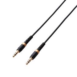 AUXケーブル φ3.5オス-φ3.5オス 高耐久 スリム 0.5m ブラック AX-35MS05BK