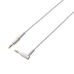 AUXケーブル φ3.5オス-φ3.5オス(L字) 高耐久 スリム 1.0m ホワイト AX-35MSL10WH