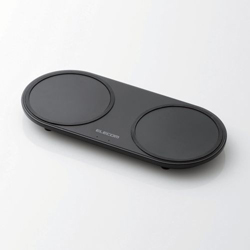 ELECOM(エレコム) Qi規格対応ワイヤレス充電器 5W 10W 2台同時充電 卓上  ブラック W-QA13BK