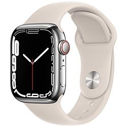 Apple(アップル) Apple Watch Series 7(GPS+Cellularモデル)- 41mmシルバーステンレススチールケースとスターライトスポーツバンド - レギュラー   MKHW3J/A ※発売日以降お届け