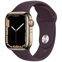 Apple(アップル) Apple Watch Series 7(GPS+Cellularモデル)- 41mmゴールドステンレススチールケースとダークチェリースポーツバンド - レギュラー   MKHY3J/A ※発売日以降お届け