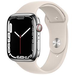 Apple(アップル) Apple Watch Series 7(GPS+Cellularモデル)- 45mmシルバーステンレススチールケースとスターライトスポーツバンド - レギュラー   MKJV3J/A ※発売日以降お届け