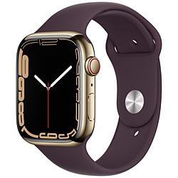 Apple(アップル) Apple Watch Series 7(GPS+Cellularモデル)- 45mmゴールドステンレススチールケースとダークチェリースポーツバンド - レギュラー   MKJX3J/A ※発売日以降お届け
