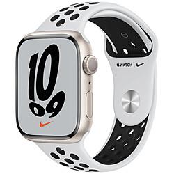 Apple(アップル) Apple Watch Nike Series 7(GPSモデル)- 45mmスターライトアルミニウムケースとピュアプラチナム/ブラックNikeスポーツバンド - レギュラー   MKNA3J/A ※発売日以降お届け