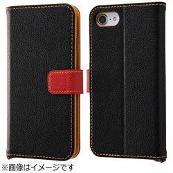 iPhone 7用 手帳型ケース 2トーンカラー ブラック/レッド RT-P12ELC2/BR