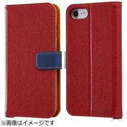 iPhone 7用 手帳型ケース 2トーンカラー レッド/ネイビー RT-P12ELC2/RN