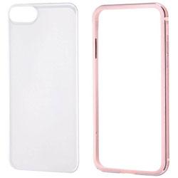 iPhone 8 アルミバンパー+背面パネル クリア ピンク RTP14ABPM
