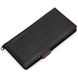 Xperia XZ Premium用 手帳型ケース フリップカバー PUレザー ブラック PG-XZPFP03BK