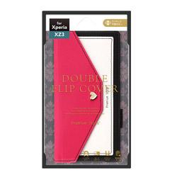XperiaXZ3用ダブルフリップカバー スクエア型ポケット PG-XZ3FP05PK ホットピンク