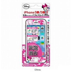 iPhone 5c/5s/5用 バブルブロック液晶保護フィルム マット 「ディズニー」(ミニーマウス) PG-DNYZR731MNE