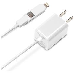 スマートフォン用[micro USB+Lightning] AC充電器 (1.2m・ホワイト) MFi認証 PG-TAC10A02WH