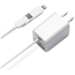 タブレット/スマートフォン対応[micro USB+Lightning] AC充電器 2.1A (1.2m・ホワイト) MFi認証 PG-TAC21A02WH