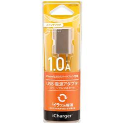 スマホ用USB充電コンセントアダプタ iCharger ゴールド PG-RAC10A04GD [1ポート]