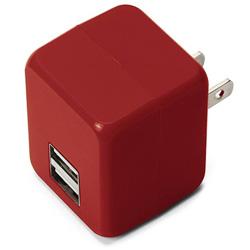 タブレット/スマートフォン対応[USB給電] AC - USB充電器 2.1A (2ポート・レッド) PG-UAC21A08RD