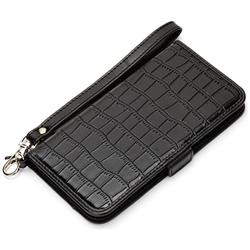 iPhone 7用 フリップカバー クロコダイル調 ブラック PG-16MFP27BK