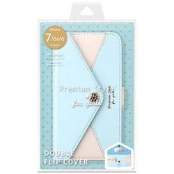iPhone 7 / 6s / 6用 フリップカバー 三角模様カードポケット for girls ライトブルー PG-16MFP60BL