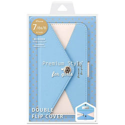 iPhone 7 / 6s / 6用 フリップカバー 三角模様カードポケット for girls ブルー PG-16MFP61BL