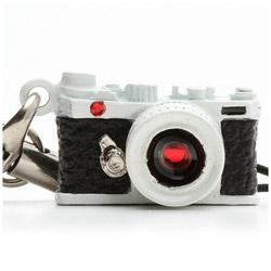 ミニチュアカメラストラップレンジファインダータイプ ホワイト/レンズ スワロフスキー
