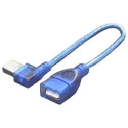 0.2m[USB-A オス→メス USB-A]2.0ケーブル 左L型 USBA-CA20LL ブルー