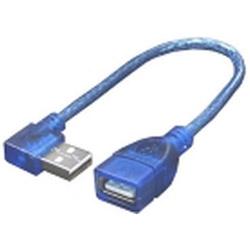 0.2m[USB-A オス→メス USB-A]2.0ケーブル 右L型 USBA-CA20RL ブルー