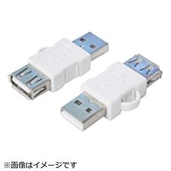 [USB-A オス→メス USB-A]スマホ充電アダプタ 変換名人 ホワイト USBA/DC