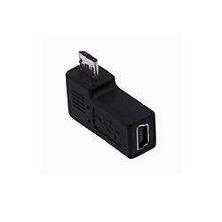 [mini 5pin USB オス→メス micro USB]変換プラグ L型