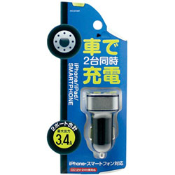 USBポートタイプ DC充電器 3.4A 2ポート ブラック IDCU2-034K