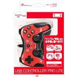 Switch用 USBコントローラPro Lite ネオンレッド [ANS-SW052RD]