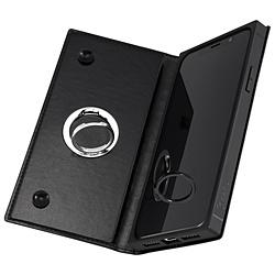 iPhone XS/X 手帳型 耐衝撃レザーケース KAKU リング付360 ピタッとカバー/ブラック/ブラック IN-P20KBC1/BB ブラック