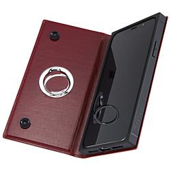 iPhone XS/X 手帳型 耐衝撃レザーケース KAKU リング付360 ピタッとカバー/レッド IN-P20KBC1/R レッド