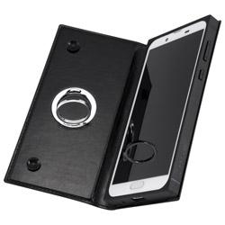 AQUOS sense2 手帳型 耐衝撃レザーケース KAKU リング付360 ピタッとカバー/ブラック/ブラック IN-AQSE2KBC1/BB ブラック