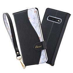 Galaxy S10 手帳型レザーケース 花柄 ハンドストラップ付 / ブラック IN-GS10EVC1/B
