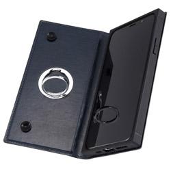 iPhone 11 Pro 5.8インチ / 手帳型 耐衝撃レザーケース KAKU リング付360 ピタッとカバー/ダークネイビー IN-P23KBC1/DN