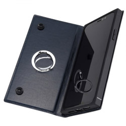 iPhone 11 6.1インチ / 手帳型 耐衝撃レザーケース KAKU リング付360 ピタッとカバー/ダークネイビー IN-P21KBC1/DN