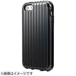 iPhone SE / 5c / 5s / 5用 COLORS Rib Hybrid Case ブラック CHC416BK ポケット付