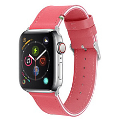 Leather Band for Apple Watch [Hot Pink/White] CLB00917