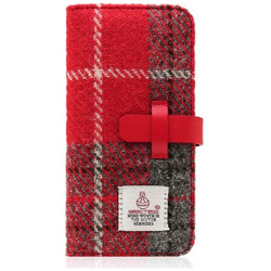iPhone 7用 Harris Tweed Diary レッド×グレー SLG Design SD8118i7