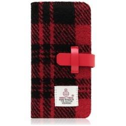 iPhone 7 Plus用 Harris Tweed Diary レッド×ブラック SLG Design SD8153i7P