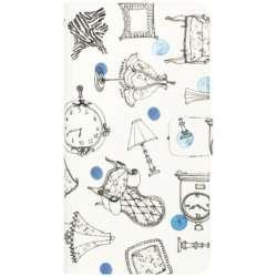 iPhone 7用 French Cafe Diary ブルー Happymori HM8242i7