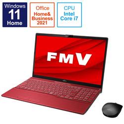 ノートパソコン LIFEBOOK AH53/F3 ガーネットレッド FMVA53F3R [15.6型 /intel Core i7 /メモリ:8GB /SSD:512GB /2021年10月モデル]