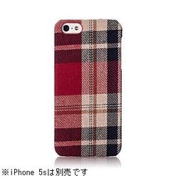 iPhone 5s/5用 ファブリックカバーセット (レッドチェック) [Simplism] TR-FCIP13-RC
