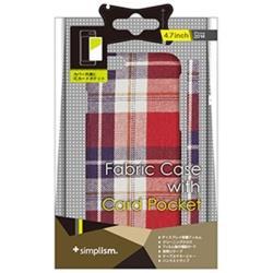 iPhone 6用 カードポケットファブリックケース レッドチェック Simplism TR-FCIP144-RC