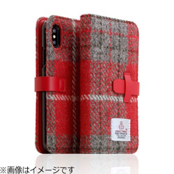 iPhone X用 Harris Tweed Diary レッド×グレー SD10554I8